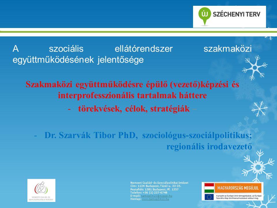 A szociális ellátórendszer szakmaközi együttműködésének jelentősége Szakmaközi együttműködésre épülő (vezető)képzési és interprofesszionális tartalmak