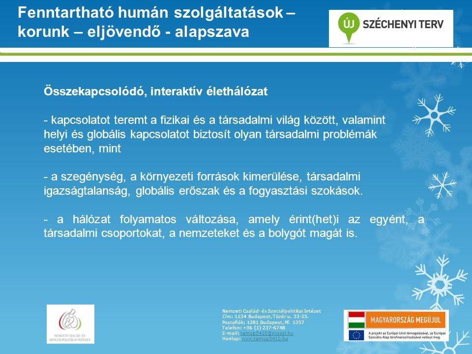 Nemzeti Család- és Szociálpolitikai Intézet Cím: 1134 Budapest, Tüzér u. 33-35. Postafiók: 1381 Budapest, Pf. 1357 Telefon: +36 (1) 237-6748 E-mail: t