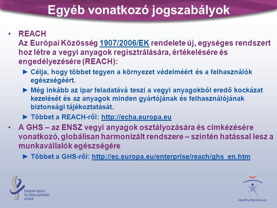 Egyéb vonatkozó jogszabályok •REACH Az Európai Közösség 1907/2006/EK rendelete új, egységes rendszert hoz létre a vegyi anyagok regisztrálására, értékelésére és engedélyezésére (REACH): 1907/2006/EK ►Célja, hogy többet tegyen a környezet védelméért és a felhasználók egészségéért.