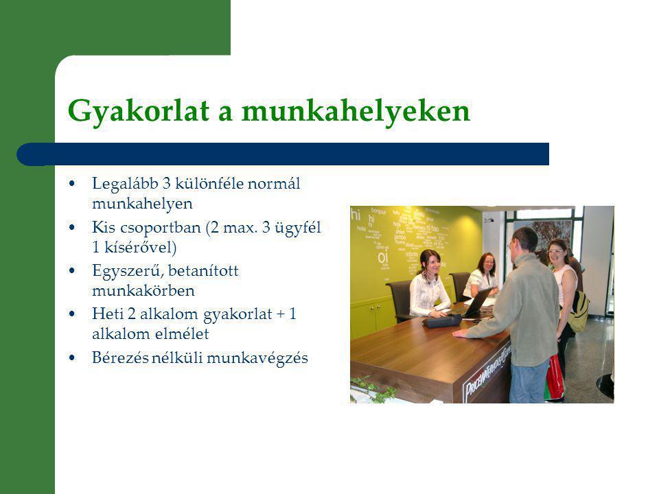 Gyakorlat a munkahelyeken • Legalább 3 különféle normál munkahelyen • Kis csoportban (2 max.
