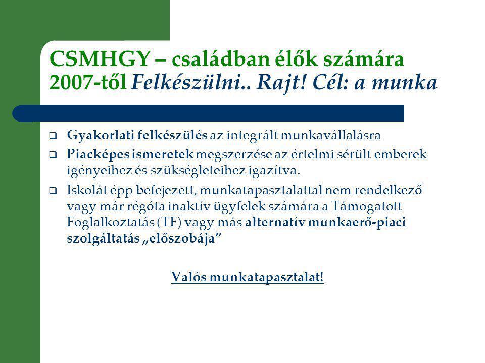 CSMHGY – családban élők számára 2007-től Felkészülni..