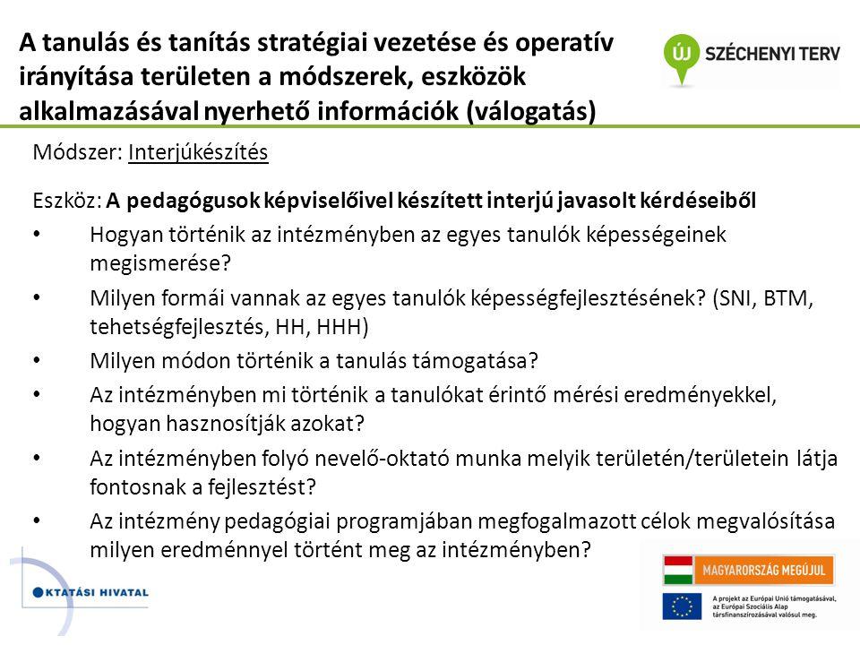 A tanulás és tanítás stratégiai vezetése és operatív irányítása területen a módszerek, eszközök alkalmazásával nyerhető információk (válogatás) Módsze