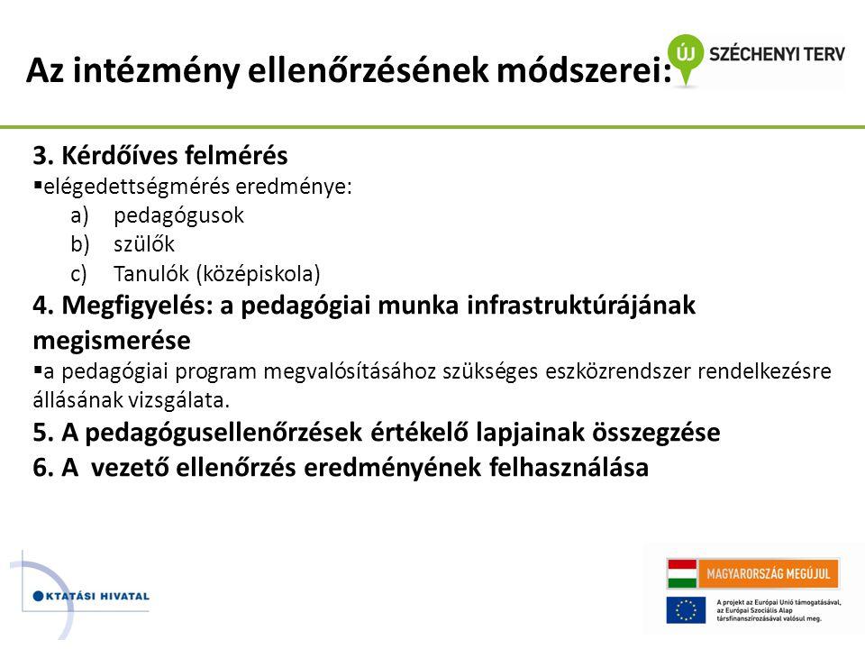 Az intézmény ellenőrzésének módszerei: 3. Kérdőíves felmérés  elégedettségmérés eredménye: a)pedagógusok b)szülők c)Tanulók (középiskola) 4. Megfigye