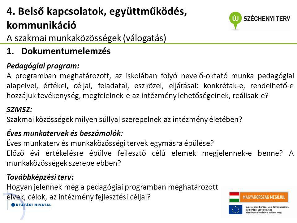 4. Belső kapcsolatok, együttműködés, kommunikáció A szakmai munkaközösségek (válogatás) 1.Dokumentumelemzés Pedagógiai program: A programban meghatáro