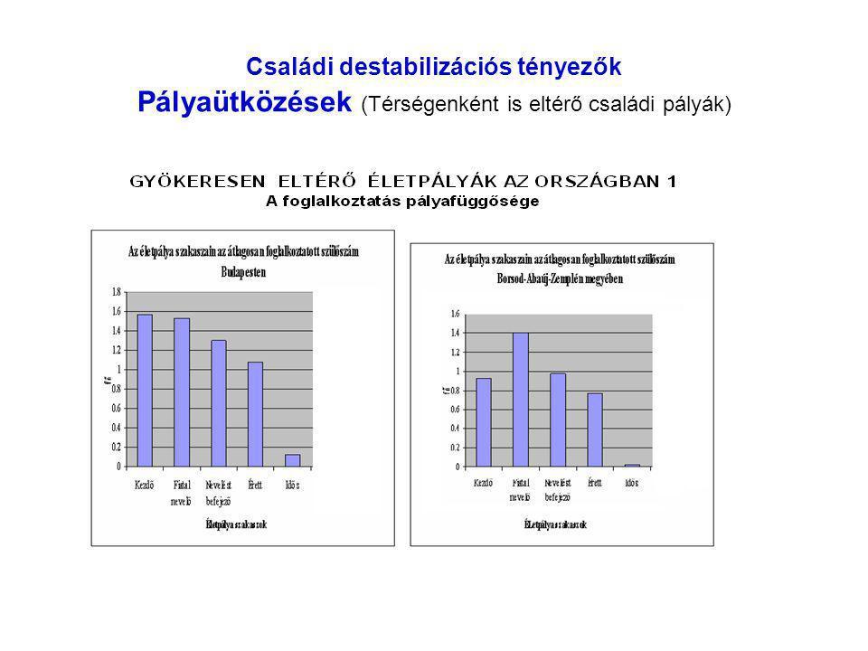 Családi destabilizációs tényezők Pályaütközések (Térségenként is eltérő családi pályák)