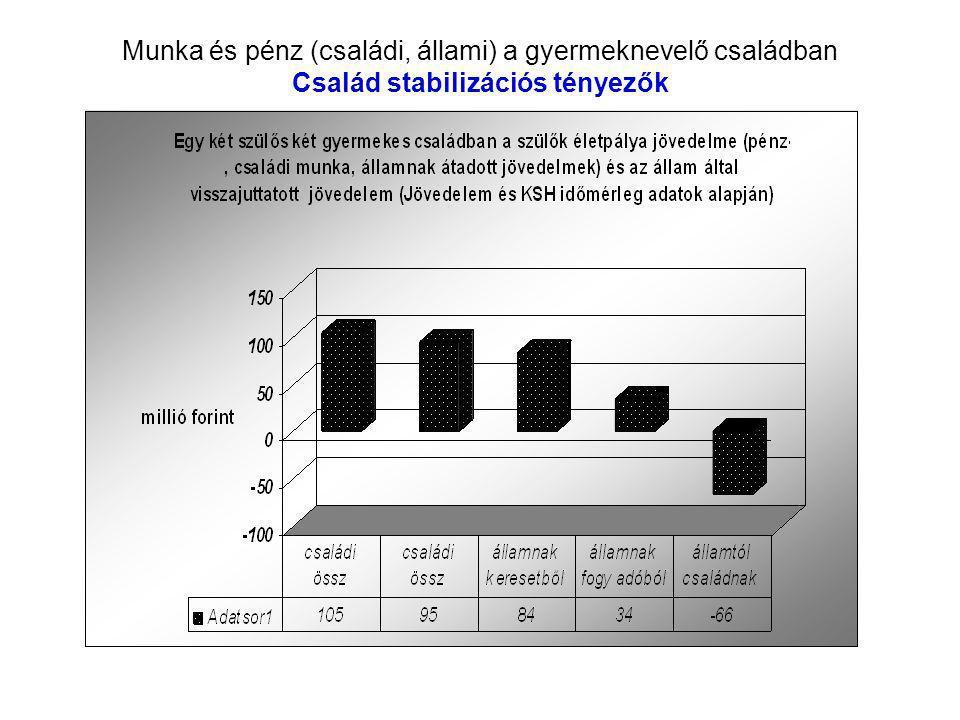 Munka és pénz (családi, állami) a gyermeknevelő családban Család stabilizációs tényezők