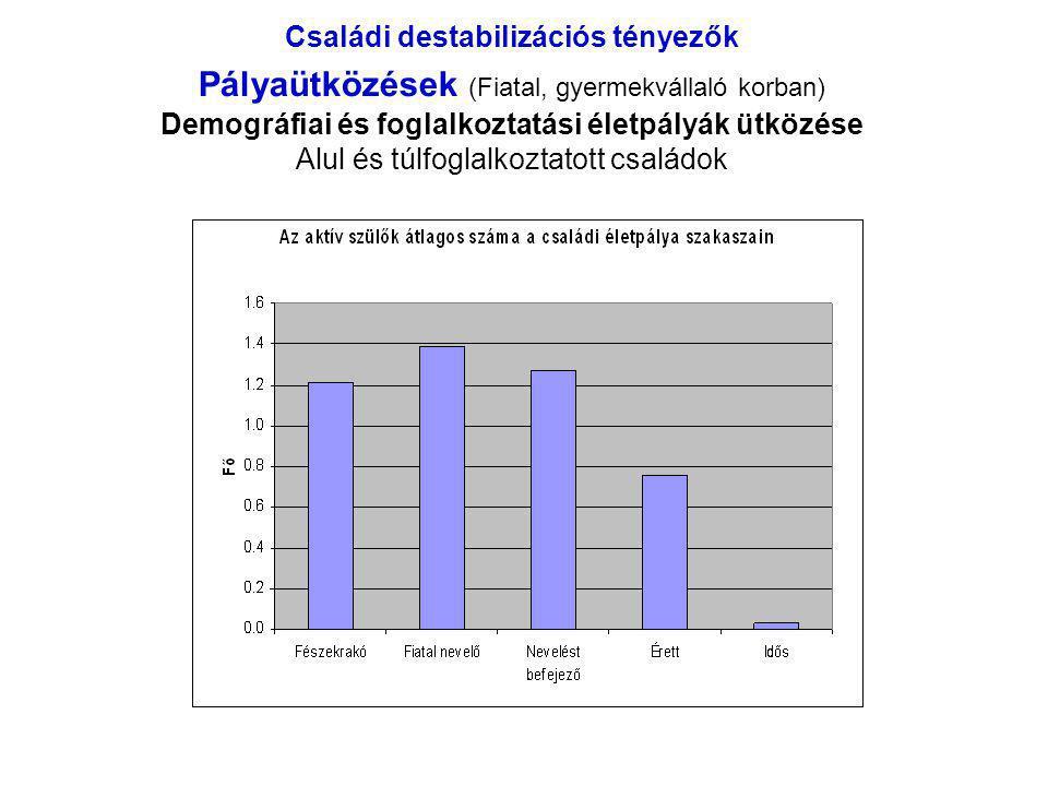 Családi destabilizációs tényezők Pályaütközések (Fiatal, gyermekvállaló korban) Demográfiai és foglalkoztatási életpályák ütközése Alul és túlfoglalkoztatott családok