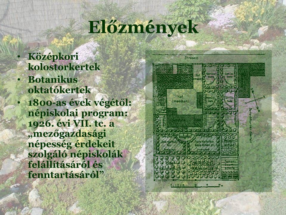 Előzmények • Középkori kolostorkertek • Botanikus oktatókertek • 1800-as évek végétől: népiskolai program: 1926.