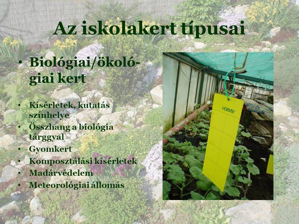 Az iskolakert típusai • Biológiai/ökoló- giai kert • Kísérletek, kutatás színhelye • Összhang a biológia tárggyal • Gyomkert • Komposztálási kísérletek • Madárvédelem • Meteorológiai állomás