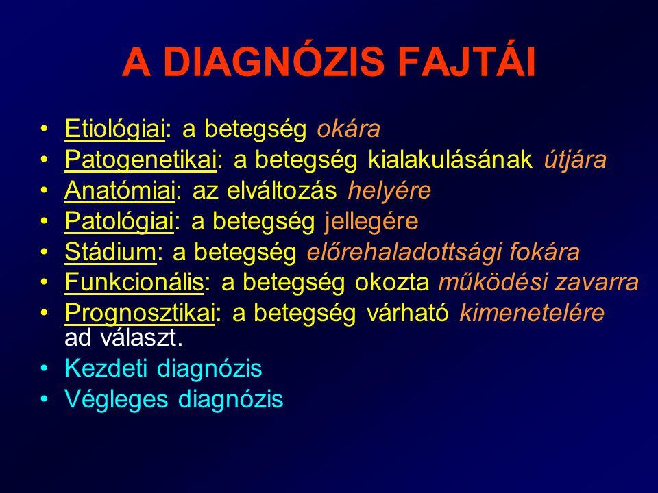 A DIAGNÓZIS FAJTÁI •Tüneti diagnózis: vezető eltérés alapján pl.