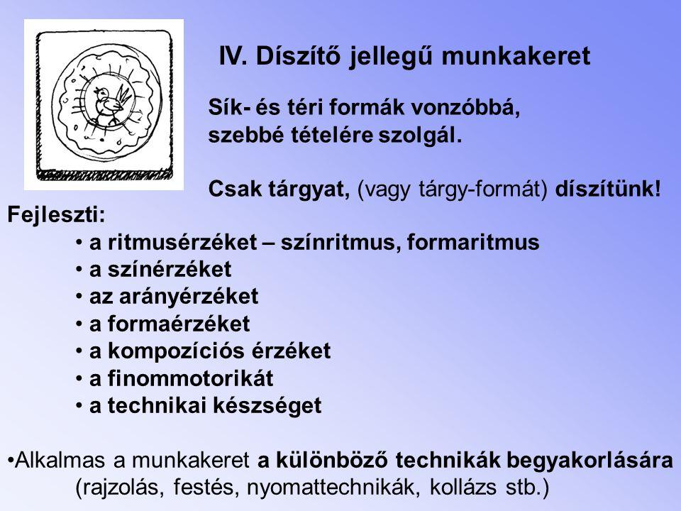 IV.Díszítő jellegű munkakeret Sík- és téri formák vonzóbbá, szebbé tételére szolgál.