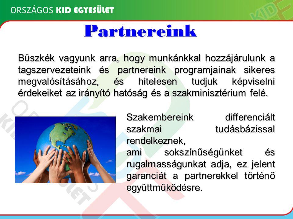 Partnereink Büszkék vagyunk arra, hogy munkánkkal hozzájárulunk a tagszervezeteink és partnereink programjainak sikeres megvalósításához, és hitelesen tudjuk képviselni érdekeiket az irányító hatóság és a szakminisztérium felé.