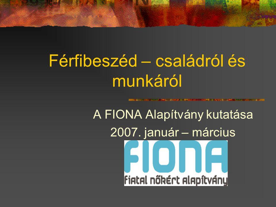 Férfibeszéd – családról és munkáról A FIONA Alapítvány kutatása 2007. január – március
