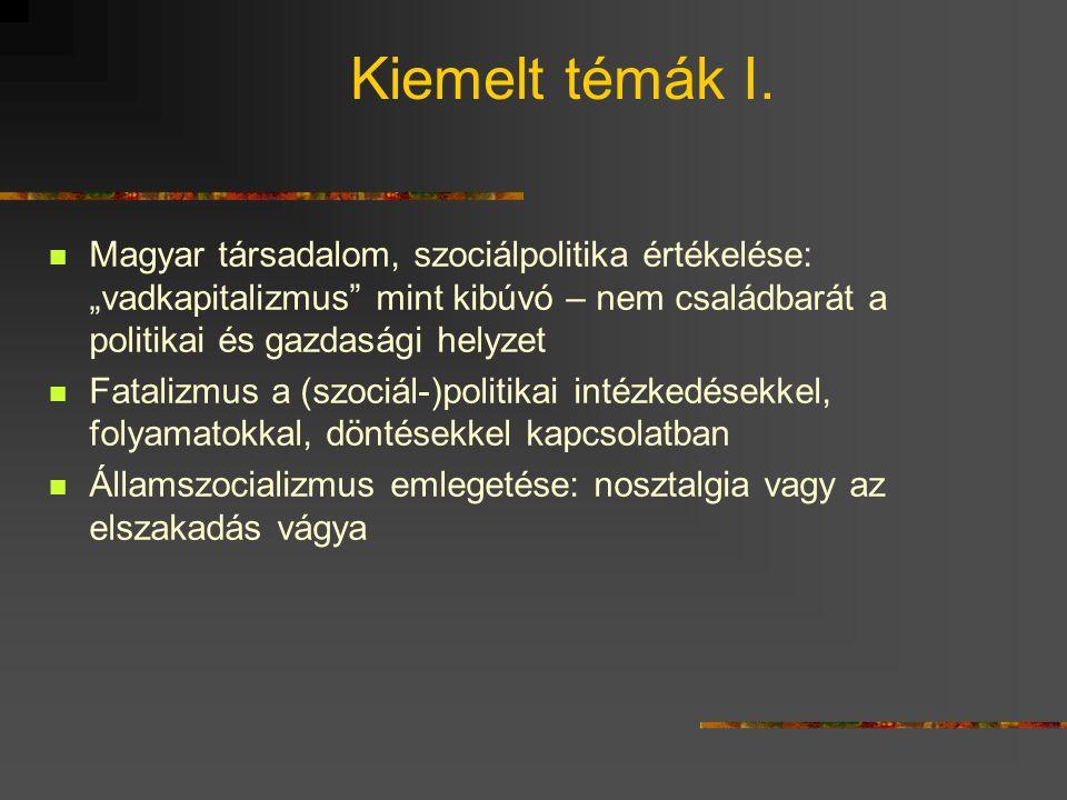 """Kiemelt témák I.  Magyar társadalom, szociálpolitika értékelése: """"vadkapitalizmus"""" mint kibúvó – nem családbarát a politikai és gazdasági helyzet  F"""