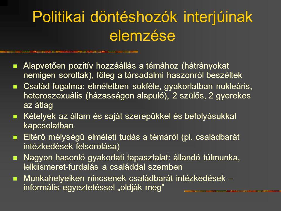 Politikai döntéshozók interjúinak elemzése  Alapvetően pozitív hozzáállás a témához (hátrányokat nemigen soroltak), főleg a társadalmi haszonról besz