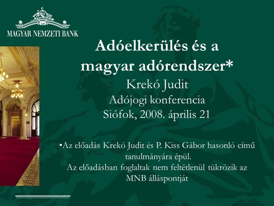 Adóelkerülés és a magyar adórendszer* Krekó Judit Adójogi konferencia Siófok, 2008. április 21 •Az előadás Krekó Judit és P. Kiss Gábor hasonló című t