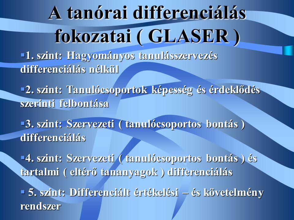 A tanórai differenciálás fokozatai ( GLASER )  1. szint: Hagyományos tanulásszervezés differenciálás nélkül  2. szint: Tanulócsoportok képesség és é