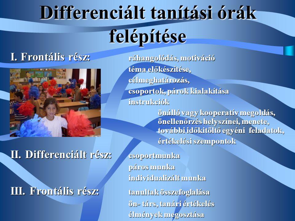 Differenciált tanítási órák felépítése I. Frontális rész: ráhangolódás, motiváció téma előkészítése, téma előkészítése,célmeghatározás, csoportok, pár