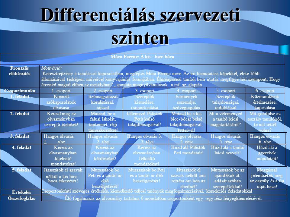 Differenciálás szervezeti szinten 4. feladat Keress az olvasmányban kijelentő mondatokat! Keress az olvasmányban kérdéseket! Keress az olvasmányban fe