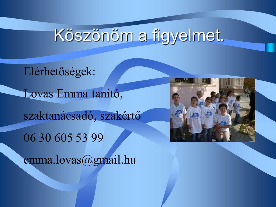 Köszönöm a figyelmet. Elérhetőségek: Lovas Emma tanító, szaktanácsadó, szakértő 06 30 605 53 99 emma.lovas@gmail.hu