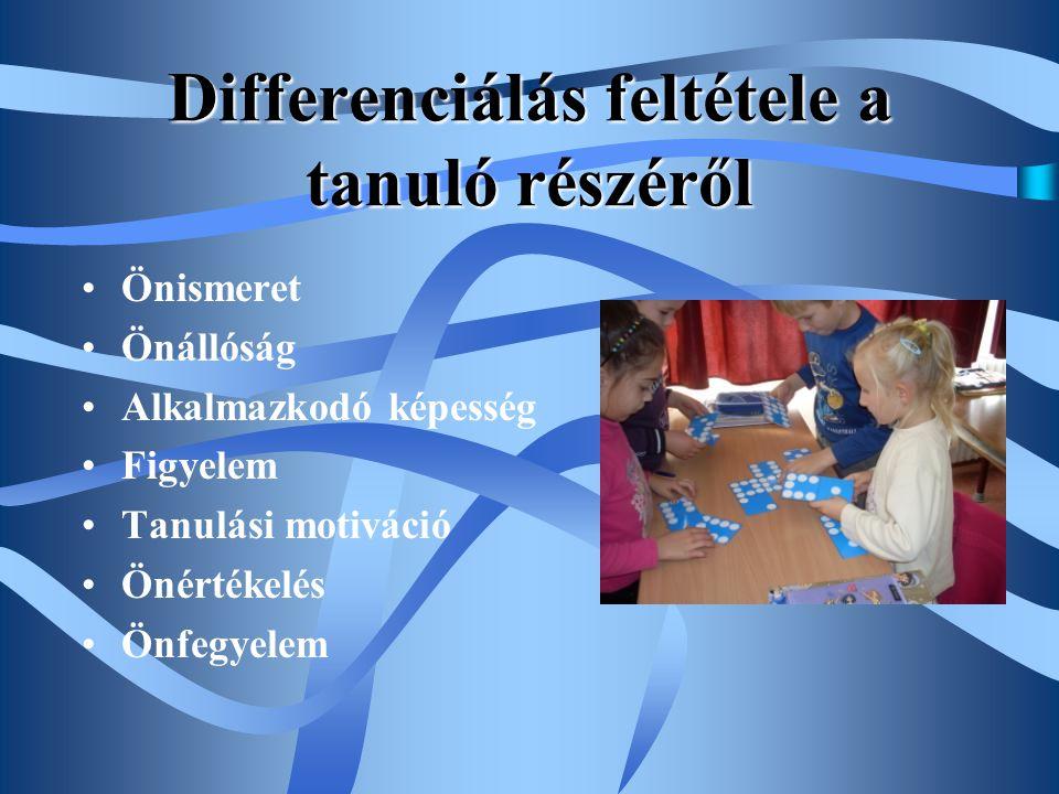 Differenciálás feltétele a tanuló részéről •Önismeret •Önállóság •Alkalmazkodó képesség •Figyelem •Tanulási motiváció •Önértékelés •Önfegyelem