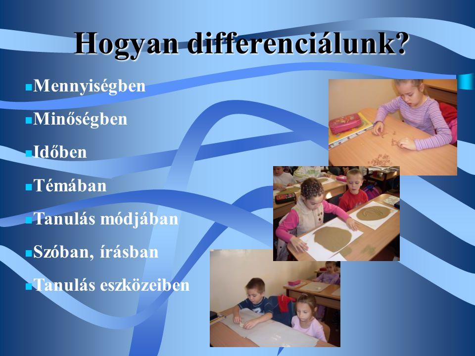 Hogyan differenciálunk?  Mennyiségben  Minőségben  Időben  Témában  Tanulás módjában  Szóban, írásban  Tanulás eszközeiben