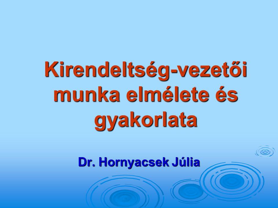 Kirendeltség-vezetői munka elmélete és gyakorlata Dr. Hornyacsek Júlia