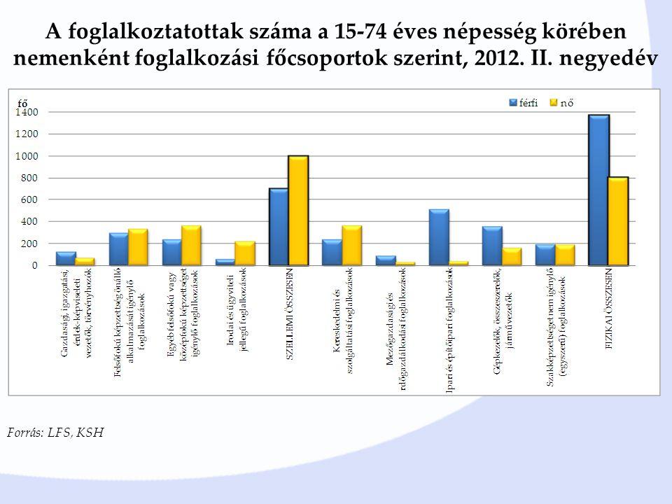 A foglalkoztatottak száma a 15-74 éves népesség körében nemenként foglalkozási főcsoportok szerint, 2012.