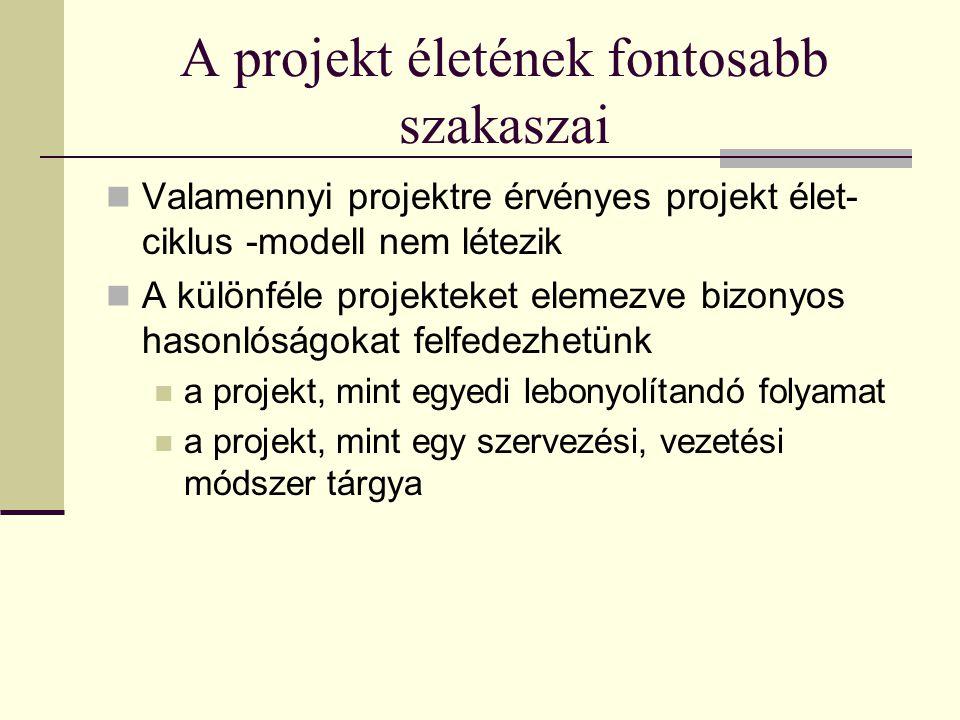 A projekt életének fontosabb szakaszai  Valamennyi projektre érvényes projekt élet- ciklus -modell nem létezik  A különféle projekteket elemezve bizonyos hasonlóságokat felfedezhetünk  a projekt, mint egyedi lebonyolítandó folyamat  a projekt, mint egy szervezési, vezetési módszer tárgya
