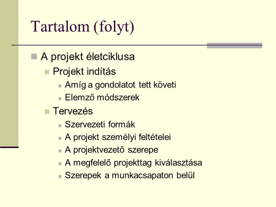 Tartalom (folyt)  Kockázatkezelés  Projekt tervezési technikák  Tevékenység és erőforrás tervek  Tervlezárás  Projekt végrehajtási fázis  Projekt kontroll  Projekt befejezése  Projekt kiértékelése