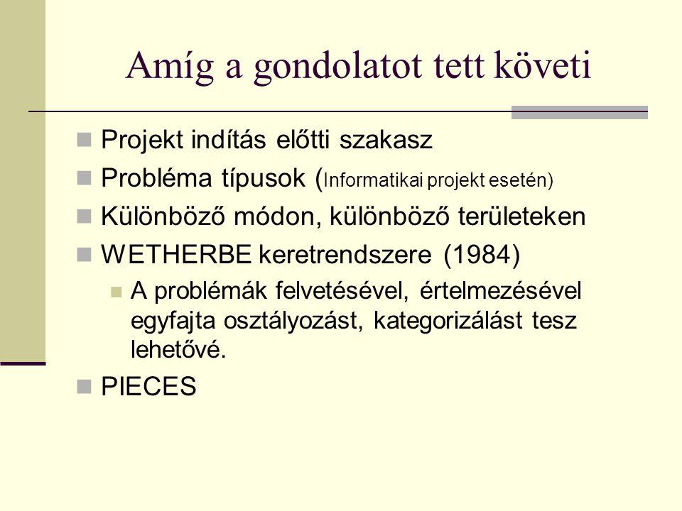 Amíg a gondolatot tett követi  Projekt indítás előtti szakasz  Probléma típusok ( Informatikai projekt esetén)  Különböző módon, különböző területeken  WETHERBE keretrendszere (1984)  A problémák felvetésével, értelmezésével egyfajta osztályozást, kategorizálást tesz lehetővé.