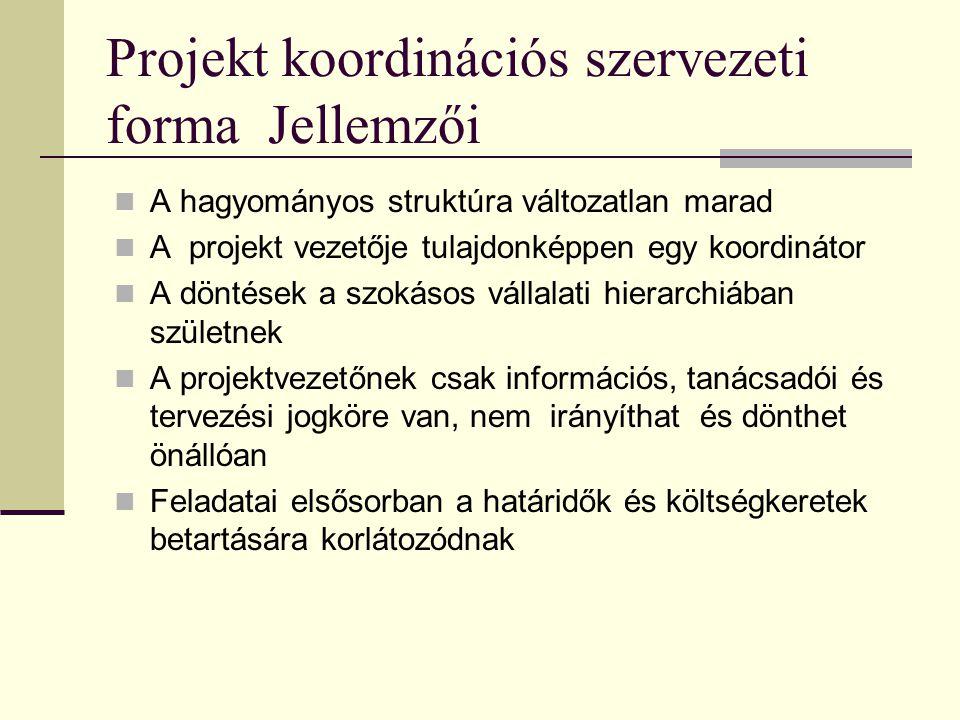 Projekt koordinációs szervezeti forma Jellemzői  A hagyományos struktúra változatlan marad  A projekt vezetője tulajdonképpen egy koordinátor  A döntések a szokásos vállalati hierarchiában születnek  A projektvezetőnek csak információs, tanácsadói és tervezési jogköre van, nem irányíthat és dönthet önállóan  Feladatai elsősorban a határidők és költségkeretek betartására korlátozódnak