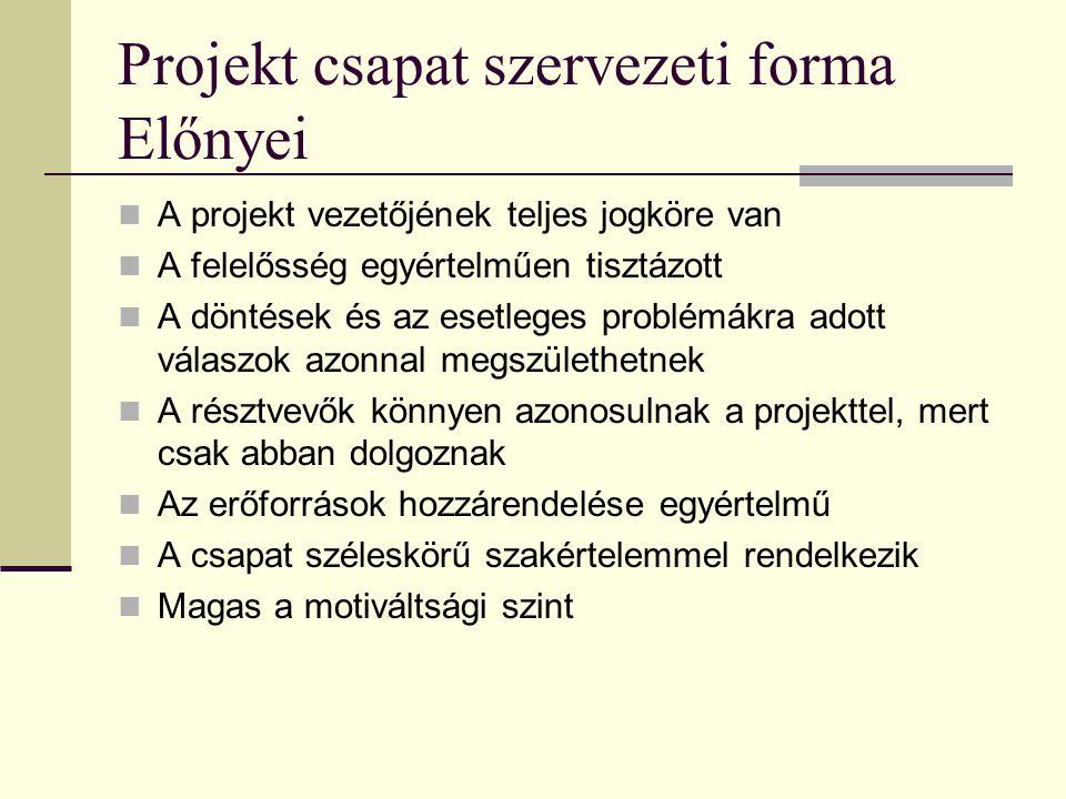 Projekt csapat szervezeti forma Előnyei  A projekt vezetőjének teljes jogköre van  A felelősség egyértelműen tisztázott  A döntések és az esetleges problémákra adott válaszok azonnal megszülethetnek  A résztvevők könnyen azonosulnak a projekttel, mert csak abban dolgoznak  Az erőforrások hozzárendelése egyértelmű  A csapat széleskörű szakértelemmel rendelkezik  Magas a motiváltsági szint