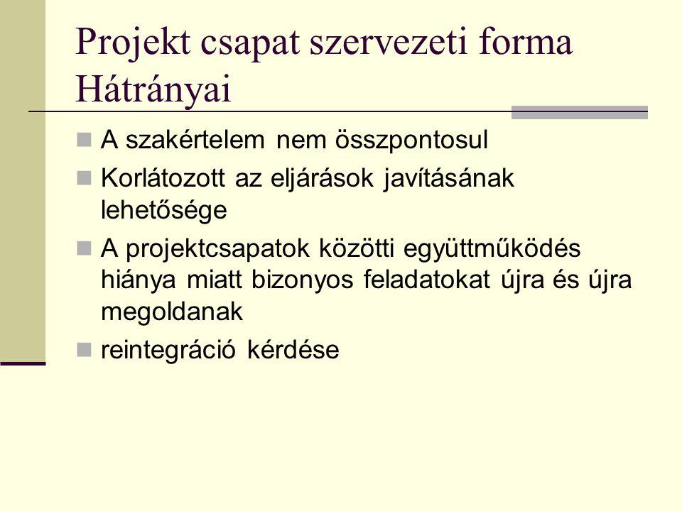 Projekt csapat szervezeti forma Hátrányai  A szakértelem nem összpontosul  Korlátozott az eljárások javításának lehetősége  A projektcsapatok közötti együttműködés hiánya miatt bizonyos feladatokat újra és újra megoldanak  reintegráció kérdése