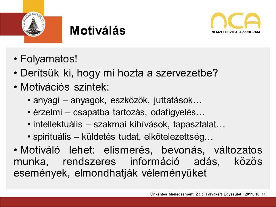 Motiválás • Folyamatos! • Derítsük ki, hogy mi hozta a szervezetbe? • Motivációs szintek: • anyagi – anyagok, eszközök, juttatások… • érzelmi – csapat