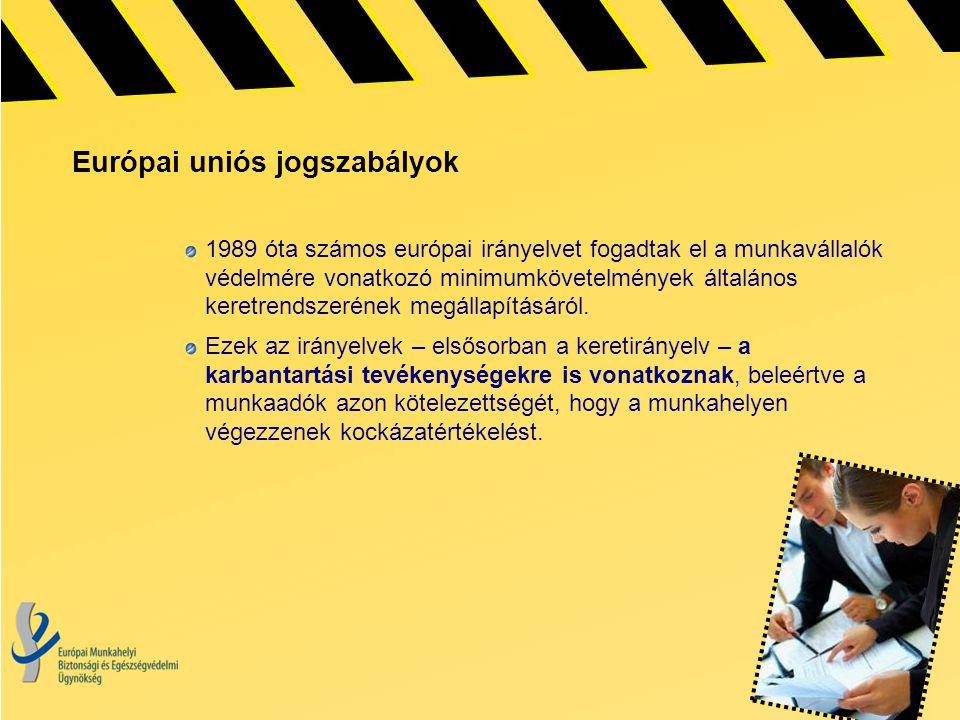 Európai uniós jogszabályok 1989 óta számos európai irányelvet fogadtak el a munkavállalók védelmére vonatkozó minimumkövetelmények általános keretrend
