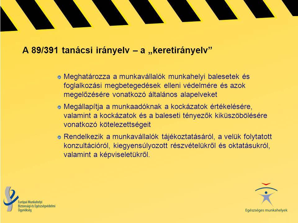 """A 89/391 tanácsi irányelv – a """"keretirányelv"""" Meghatározza a munkavállalók munkahelyi balesetek és foglalkozási megbetegedések elleni védelmére és azo"""