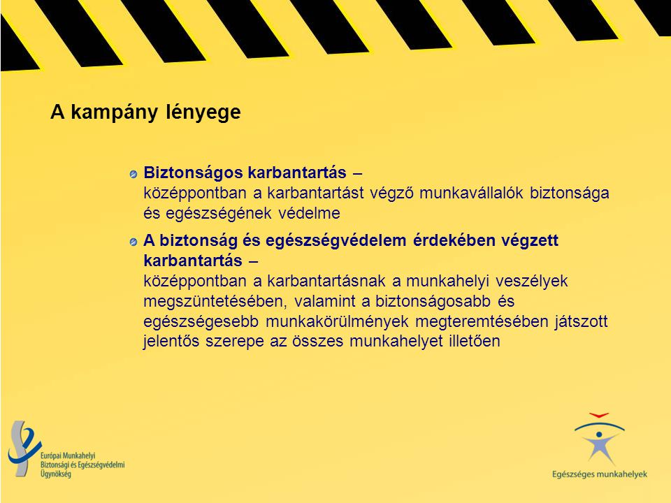 A kampány lényege Biztonságos karbantartás – középpontban a karbantartást végző munkavállalók biztonsága és egészségének védelme A biztonság és egészs