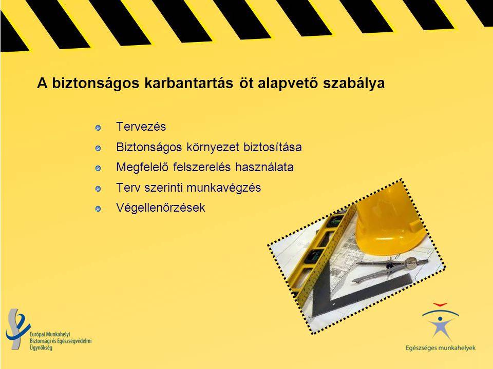 A biztonságos karbantartás öt alapvető szabálya Tervezés Biztonságos környezet biztosítása Megfelelő felszerelés használata Terv szerinti munkavégzés
