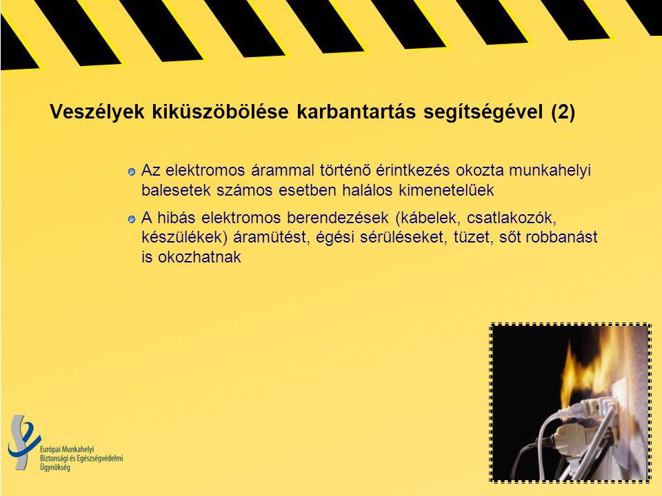Veszélyek kiküszöbölése karbantartás segítségével (2) Az elektromos árammal történő érintkezés okozta munkahelyi balesetek számos esetben halálos kime