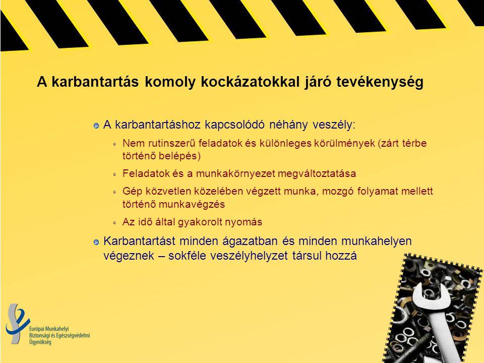 A karbantartás komoly kockázatokkal járó tevékenység A karbantartáshoz kapcsolódó néhány veszély: Nem rutinszerű feladatok és különleges körülmények (
