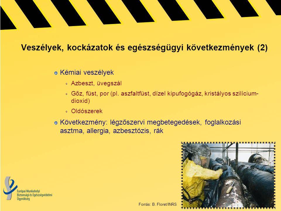 Veszélyek, kockázatok és egészségügyi következmények (2) Kémiai veszélyek Azbeszt, üvegszál Gőz, füst, por (pl. aszfaltfüst, dízel kipufogógáz, kristá
