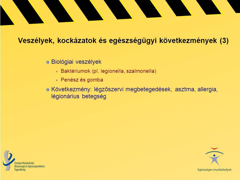 Veszélyek, kockázatok és egészségügyi következmények (3) Biológiai veszélyek Baktériumok (pl. legionella, szalmonella) Penész és gomba Következmény: l