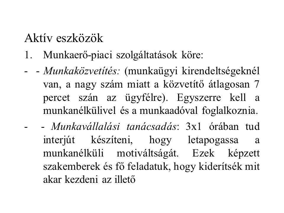 Aktív eszközök 1.Munkaerő-piaci szolgáltatások köre: - - Munkaközvetítés: (munkaügyi kirendeltségeknél van, a nagy szám miatt a közvetítő átlagosan 7