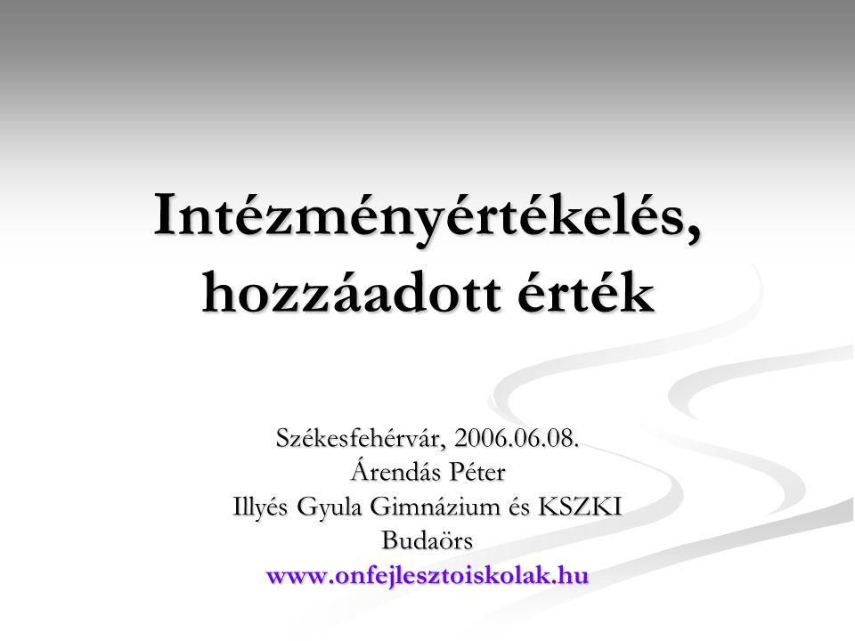 Intézményértékelés, hozzáadott érték Székesfehérvár, 2006.06.08. Árendás Péter Illyés Gyula Gimnázium és KSZKI Budaörswww.onfejlesztoiskolak.hu