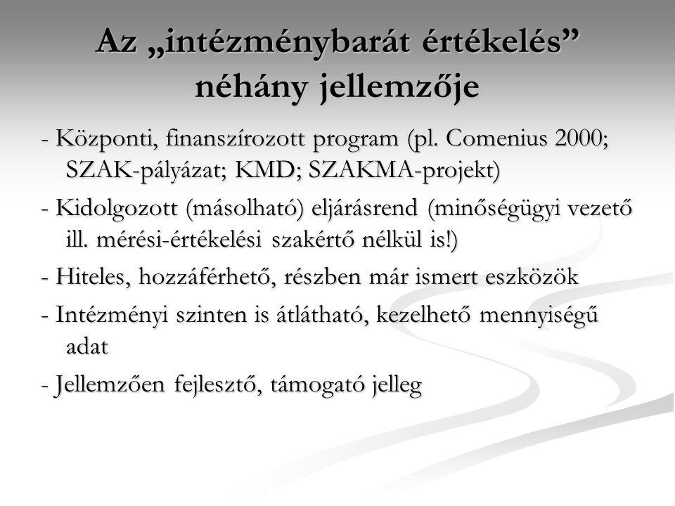 """Az """"intézménybarát értékelés"""" néhány jellemzője - Központi, finanszírozott program (pl. Comenius 2000; SZAK-pályázat; KMD; SZAKMA-projekt) - Kidolgozo"""
