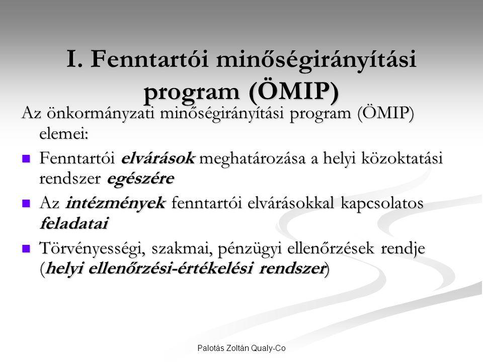 Palotás Zoltán Qualy-Co I. Fenntartói minőségirányítási program (ÖMIP) Az önkormányzati minőségirányítási program (ÖMIP) elemei:  Fenntartói elváráso