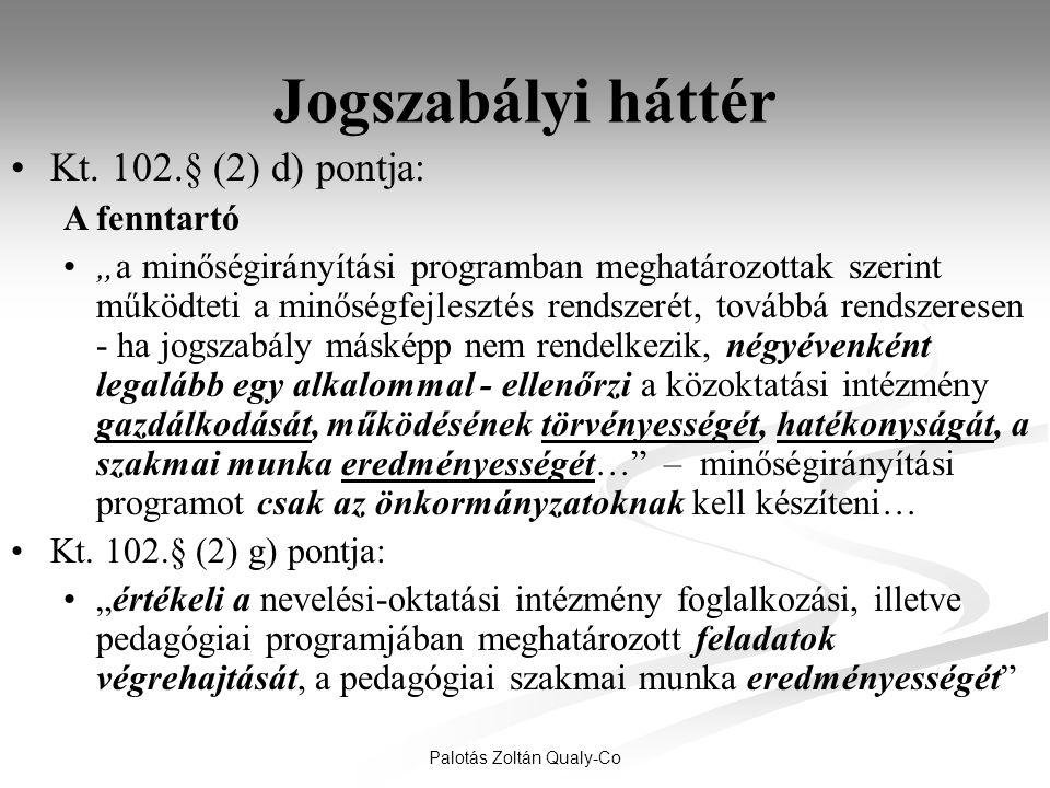 """Palotás Zoltán Qualy-Co Jogszabályi háttér •Kt. 102.§ (2) d) pontja: A fenntartó •""""a minőségirányítási programban meghatározottak szerint működteti a"""