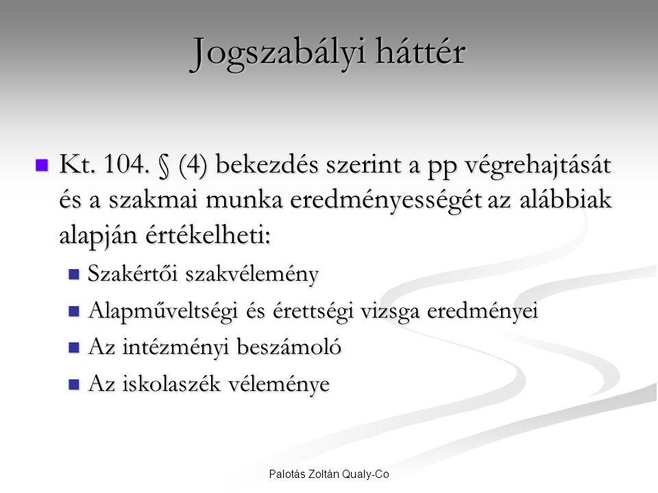 Palotás Zoltán Qualy-Co Jogszabályi háttér  Kt. 104. § (4) bekezdés szerint a pp végrehajtását és a szakmai munka eredményességét az alábbiak alapján