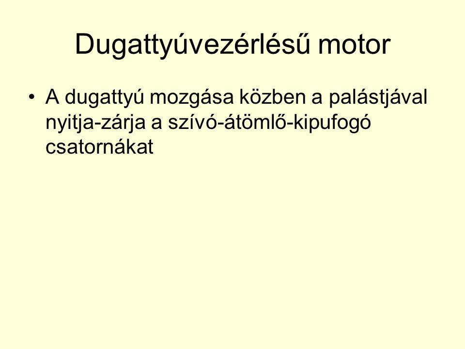 Dugattyúvezérlésű motor •A dugattyú mozgása közben a palástjával nyitja-zárja a szívó-átömlő-kipufogó csatornákat